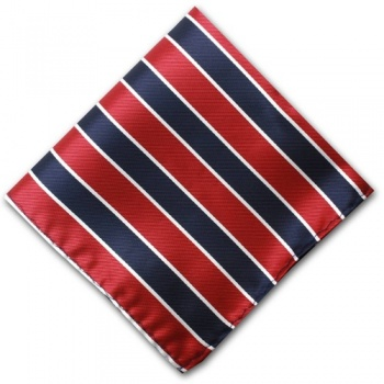 Red and Navy Blue Striped Pocket Square